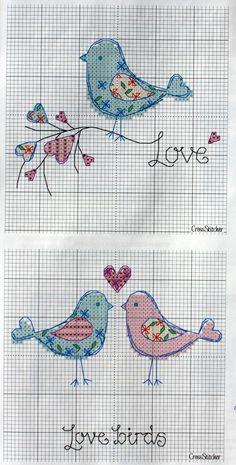 Cross-stitch Birds in Love, part 2 . Cross Stitch Needles, Cross Stitch Heart, Cross Stitch Cards, Cross Stitch Animals, Cross Stitching, Diy Embroidery, Cross Stitch Embroidery, Embroidery Patterns, Cross Stitch Designs