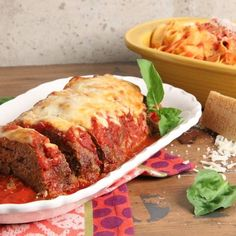 Chicken Parm Meatloaf Recipe - Laura in the Kitchen - Internet Cooking Show Starring Laura Vitale Meatloaf Recipes, Meat Recipes, Cooking Recipes, Cooking Videos, Kitchen Recipes, Food Videos, Cooking Tips, Dinner Recipes, Ground Chicken Recipes