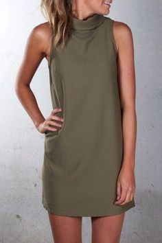 Love olive! Love the shape of the dress. Don't care for the neck.