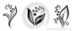 Lily of the valley flowers. Black silhouettes. by Naddiya, via Dreamstime