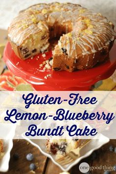 Gluten-Free Lemon-Blueberry Bundt Cake Jam-packed with plump blueberries and topped with a yummy lemon glaze this has got to be one of my FAVORITE bundt cakes EVER! Patisserie Sans Gluten, Dessert Sans Gluten, Bon Dessert, Gluten Free Sweets, Gluten Free Cakes, Gluten Free Baking, Vegan Gluten Free, Gluten Free Lemon Cake, Dairy Free