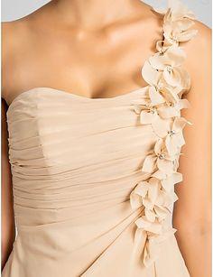 damigella d'onore di lunghezza del ginocchio chiffon una linea vestito monospalla con fiori – EUR € 69.99