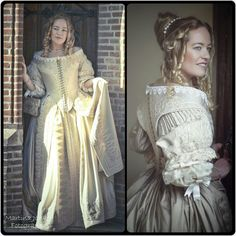 I realized I haven't posted a good view on my 1660s dress yet (without the fur), so here we go. Left pic is made by Martina Jonker de Vries and right picture is made by Henk van Rijssen. Costume maker : Angela Mombers