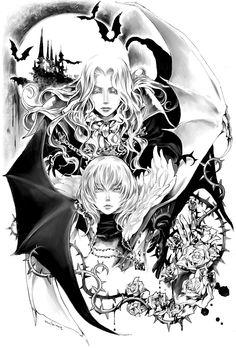 Alucard and Soma, Castlevania: Dawn of Sorrow Castlevania Dracula, Alucard Castlevania, Chica Anime Manga, Anime Art, Mabuchi Kou, Character Art, Character Design, Vampire Hunter D, Dragons