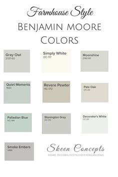 Style inspired paint colors from Benjamin Moore. How to add Farmhouse . Style inspired paint colors from Benjamin Moore. How to add Farmhouse . Farmhouse Paint Colors, Kitchen Paint Colors, Bedroom Paint Colors, Paint Colors For Living Room, Paint Colors For Home, Entryway Paint Colors, Paint For House, Colors For Kitchens, Paint Colors For Bathrooms