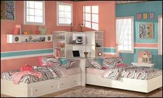 great corner bed arrangement shared bedrooms ideas - decorating shared bedrooms - siblings sharing bedroom - shared bedroom spaces