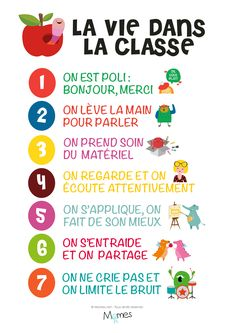 poster vie en classe Furthermore, I am a new well-known frequent education and learning tutor French Teaching Resources, Teaching French, Teaching Tools, French Classroom Decor, Classroom Rules Poster, French Education, Core French, French Immersion, French Teacher