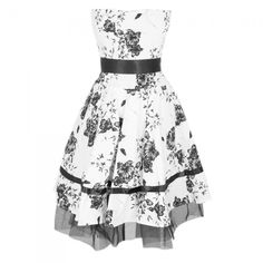 Beautiful White Dress with Black Floral Pattern ❤ liked on Polyvore featuring dresses, party dresses, white cocktail dresses, white lace dress, black evening dresses and evening dresses
