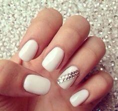 White & Swarovski  Nail art