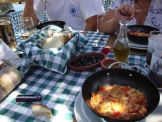 Lunch - menemen, olives and home made bread