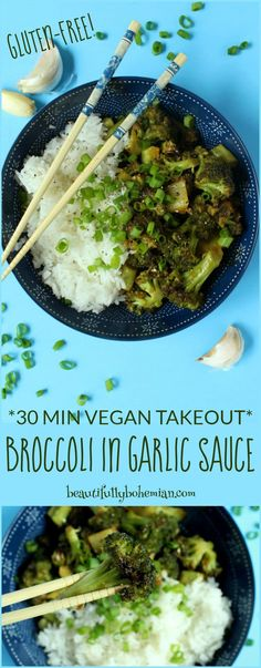 On those nights when you're just too tired to go the extra mile, try this EASY homemade takeout instead: Broccoli in Garlic Sauce! Takes only 30 minutes from start to finish, plus is vegan, nut-free, and gluten-free. Vegan Foods, Vegan Dishes, Vegan Vegetarian, Vegetarian Recipes, Vegan Recipes Broccoli, Vegan Sauces, Vegan Dinner Recipes, Vegan Recipes Easy, Asian Recipes
