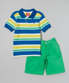 Another great find on #zulily! Snorkel Blue Stripe Polo & Green Shorts - Toddler & Boys #zulilyfinds