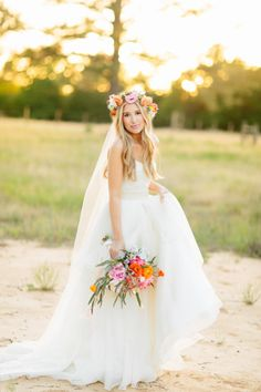 Angelic bride: http://www.stylemepretty.com/2014/10/04/rustic-wedding-with-pops-of-pink/   Photography: Haley Rynn Ringo - http://haleyringo.com/