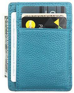 DEEZOMO RFID Blocking Genuine Leather Credit Card Holder ... blue wallet http://amzn.to/2okgBPX
