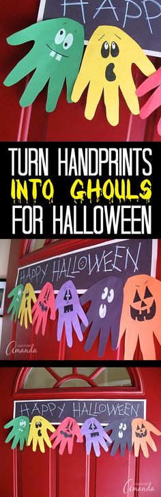 Make this adorable Halloween Handprint Ghoul Banner with the kids to hang on the door! A great way to greet trick or treaters. Would be a fun troop or classroom project too! by darlene Halloween Crafts For Kids, Halloween Art, Holidays Halloween, Halloween Themes, Holiday Crafts, Happy Halloween, Halloween Decorations, Holiday Fun, Holiday Ideas