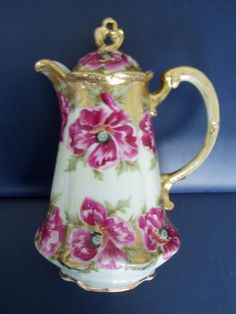 Vintage Royal Kinran Nippon chocolate pot - roses on white ground and gold, scalloped base - Japanese china chocolate pot