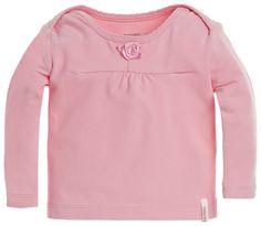 Langarmshirt Rose    Babyshirt Kim hat eine leichte Raffung auf der Brust und ist mit einer Rose verziert. Auf den Schultern überlappt der Stoff, wodurch genug Platz entsteht und das An- und Ausziehen bei diesem Shirt sehr einfach ist. Das Shirt ist aus Baumwolle mit einem geringen Anteil Elastan hergestellt und komplett einfarbig.Gut zu wissen: Für ein Mädchen, lange Ärmel, runder Ausschnitt, ...