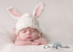Custom Made Bunny Hat with Adorable White and Pink Bunny Ears for Newborn and Baby - Photography Prop. $28.00, via Etsy.