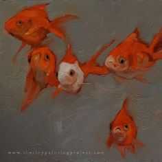 "Daily Paintworks - ""Five Goldfish"" - Original Fine Art for Sale - © Sharon McGauley"
