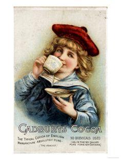 Cadbury's Cocoa vintage advertising card, UK Vintage Labels, Vintage Ephemera, Vintage Cards, Vintage Signs, Vintage Postcards, Vintage Images, Retro Vintage, Vintage Food, Vintage Metal