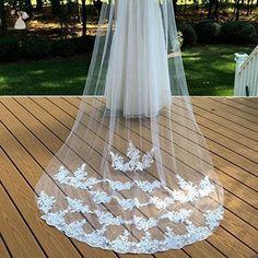 Bridal Lace Veil, Wedding Lace Veil, White Bridal Veil, Ivory Wedding Veil - Bridal hats and veils (*Amazon Partner-Link)