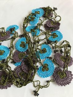 long crochet necklace beaded crochet hair piece anthra boho
