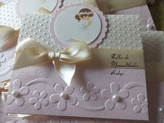 Картинки по запросу invitaciones para primera comunión de niño hechas a mano First Communion Cards, Baptism Cards, First Communion Invitations, Baptism Favors, Baptism Invitations, First Holy Communion, Communion Centerpieces, Baby Shower Princess, Shower Baby