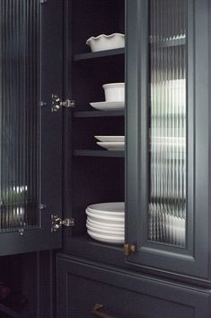 interiors & styling: Tips for Designing a Functional Kitchen (+ A Video Recap) – DiyForYou Glass Kitchen Cabinets, Glass Front Cabinets, Storage Cabinets, Tall Cabinet Storage, Locker Storage, Hanging Cabinet, Display Cabinets, Reeded Glass, Cabinet Fronts