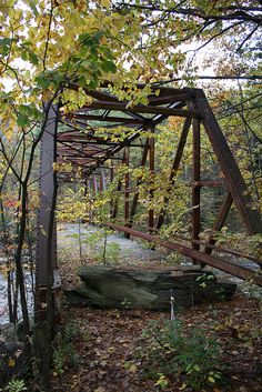 "Abandoned 1936 Pratt through truss bridge over Wardsboro Brook in Windham County, Vermont. The bridge is also known as ""Bridge 33"" Old Wardsboro Brook Truss Bridge 