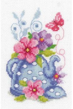 Blue Tea Pot & Flowers Cross Stitch Kit £11.75 | Past Impressions | Vervaco