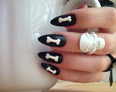 Skeleton Press On Nails, 24 bones stiletto nails, black skull nails, long black nails