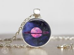 Saturn Pendant Necklace   Saturn Necklace Saturn Jewelry Space Jewelry Galaxy Necklace Watercolor Planet Necklace Science Jewelry Stars by AgeOfAkuarius on Etsy