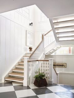 Greenhouse - this is the feeling the stairs should evoke. Ship lap on walls, wooden banister, love the industrial sconces!