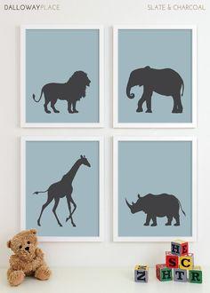 Baby Nursery Art, African Safari Animal Nursery Print, Jungle Zoo Children Kids Wall Art Kids Room Baby Nursery Decor - Four 8x10. $50.00, via Etsy.