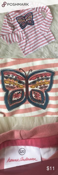 """Hanna Andersson girls shirt size 5 Girls Hanna Andersson Embroidered butterfly shirt. Size says 120. I think it's a girls 6. 100% cotton. Length from shoulder to bottom is 17"""". Sleeves are 16 1/2"""". Hanna Andersson Shirts & Tops Tees - Long Sleeve"""