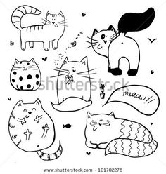 stock vector : Doodle cute cats background. Here is your next embroidery project