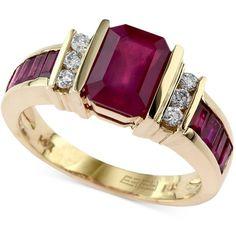 Effy Ruby (2-1/4 ct. t.w.) and Diamond (1/6 ct. t.w.) Ring in 14k Gold ($1,540)…