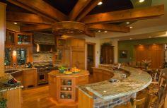I want this in my dream home StainlessSteel Granite Brick Hardwood Island BreakfastBar ExposedBeams Backsplash Oven FarmhouseSink