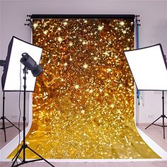 SUSU Wrinkles Free Gold Photography Backdrops Golden Ribbon Glitter Background for Wedding Backdrop Shoot Birthday Backdrop, Birthday Background, Wedding Background, Glitter Backdrop, Glitter Background, Thing 1, Photography Backdrops, Wedding Shoot, Gold Glitter