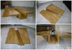 """#CoffeeTable, #Design, #Oak, #Upcycled I recovered the triangular falls from another project, and I adjusted them. The central hole is a bonded assembly of three falls the same wood. Everything is assembled with """"Lamela half moon"""" to ease the transport and assembly as the table is"""