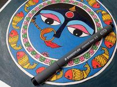 Madhubani Art, Madhubani Painting, Moon Painting, Painting Tips, Sell On Etsy, My Etsy Shop, Etsy Handmade, Handmade Items, Indian Folk Art
