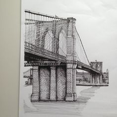 Brooklyn Bridge 2015. #art #drawing #pen #sketch #illustration #linedrawing…