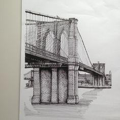 Brooklyn Bridge 2015. #art #drawing #pen #sketch #illustration #linedrawing…
