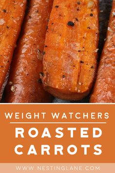 Weight Watchers Roasted Carrots Recipe - A quick and easy 5 ingredient side dish recipe that's ready in 30 minutes. Healthy, low calorie with no butter! 4 Smart Points. Weight Watcher Dinners, Weight Watchers Sides, Plats Weight Watchers, Weight Watchers Soup, Low Calorie Sides, Low Calorie Dinners, Low Calorie Recipes, Low Carb, Weight Watchers Carrot Recipe