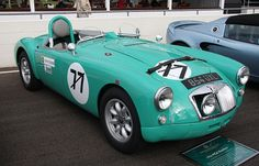 MGA .854 UXL. Exported straight to the USA , spent 10 years racing in SCCA on the west coast ,was very successful racing as a 1600 , not surprising , as it had an1860cc engine !! , re imported in 1987 , and restored to 1955 Le Mans spec , and painted in Tyrolite green .