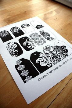 24 Printable Black and White Damask Gift Tags by ThePoshEvent, $3.00