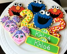 Decorated Custom Elmo, Cookie Monster, Abby Cadabby, Number Cookies, Perfect for your Sesame Street Birthday Party
