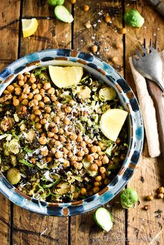 Roasted Brussels Sprouts Caesar Salad with Crispy Chickpea Croutons | theendlessmeal.com