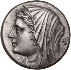 16 Litre - argento - Siracusa, Siciia (274-216 a.C.) - Filistide (moglie di Gerone II, tiranno di Siracusa) con capo velato di profilo vs.sn. - Münzkabinett Berlin