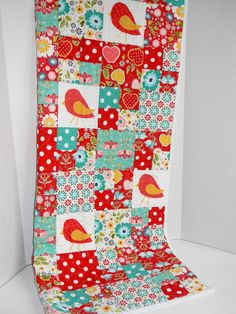 Red and Turquoise Bird and Flower Quilt by SWDesignsBaby on Etsy, $115.00
